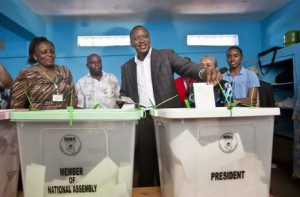 Kenyan Presidential candidate Uhuru Kenyatta casts his vote for president.