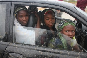 Three of the escaped schoolgirls head to the state capital of Maiduguri to help with the investigation. Photo Chika Oduah/TAP