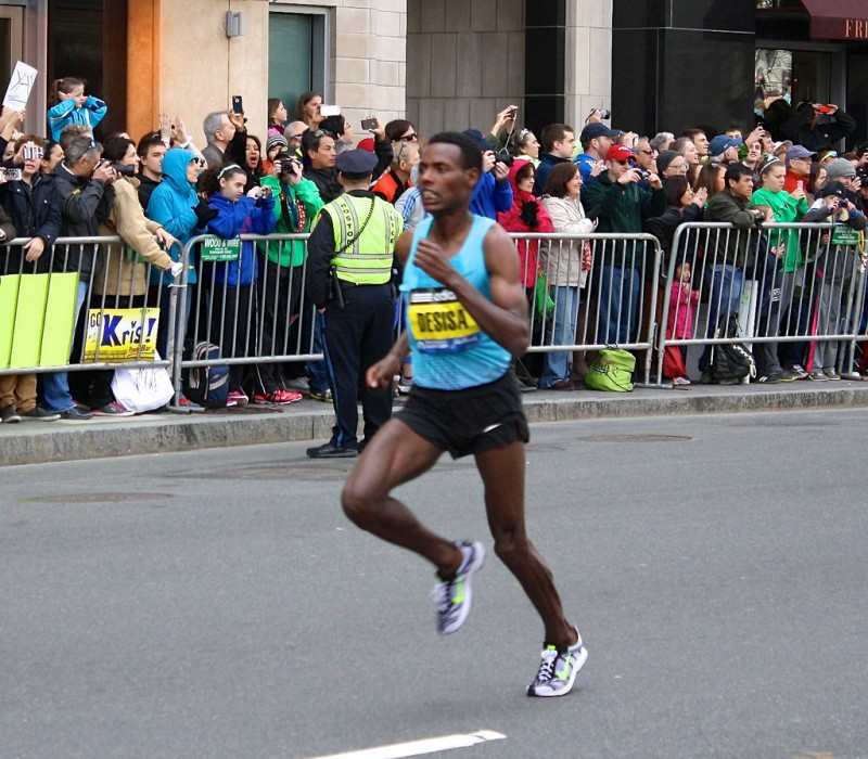 Desisa  at the Boston Marathon in 2013
