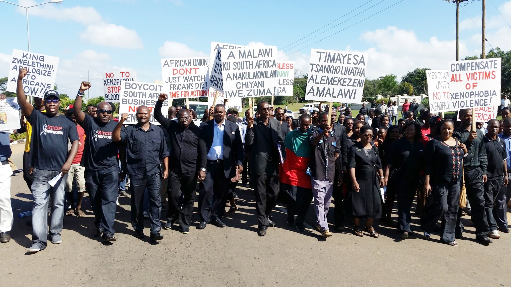 Protest in Malawi against South Africa's Xenophobic Attacks. Phot o - Henry K. Mhango, The AfricaPaper