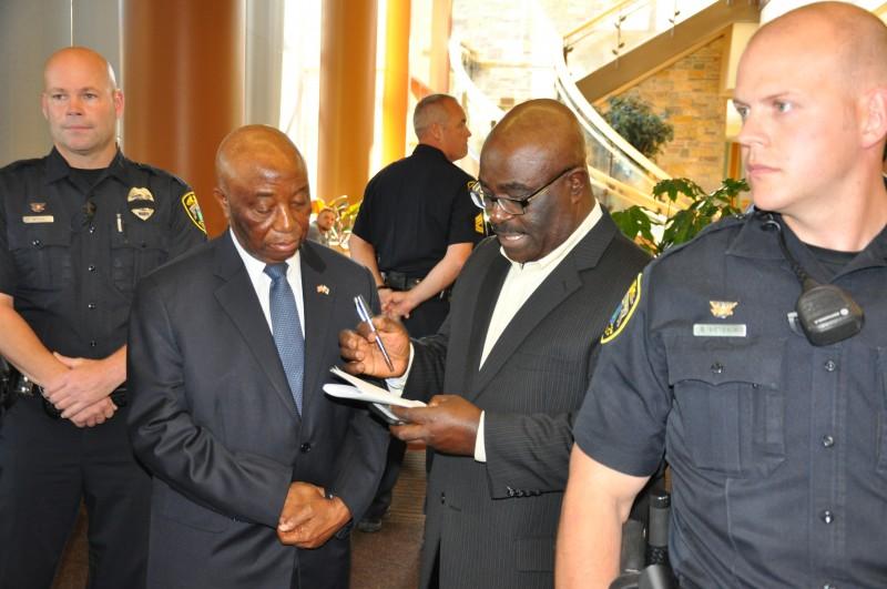 Joseph N. Boakai (left0, and Liberia's Ambassador to the United States. Hon. Jeremiah Solunteh(right) Photo: Issa A.Mansaray/The AfricaPaper