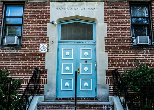 The entrance of the Handmaids' historic convent on West 124th Street, opposite Marcus Garvey Park. Photo: Benjamin Parkin
