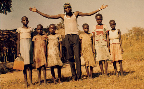 Kony with children.