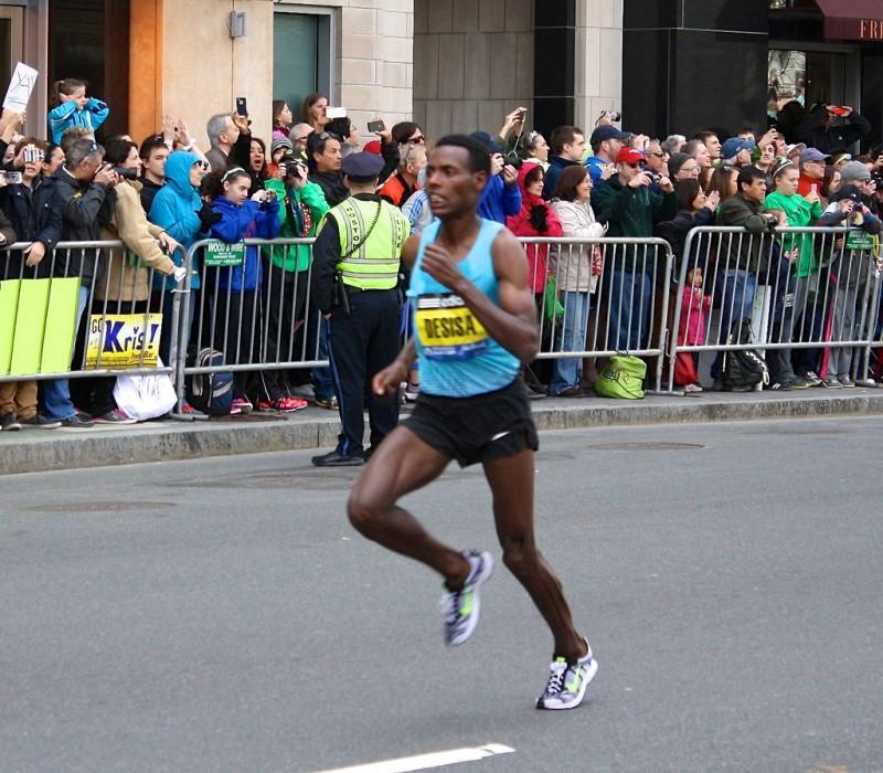 Desisa  at the Boston Marathon in 2013