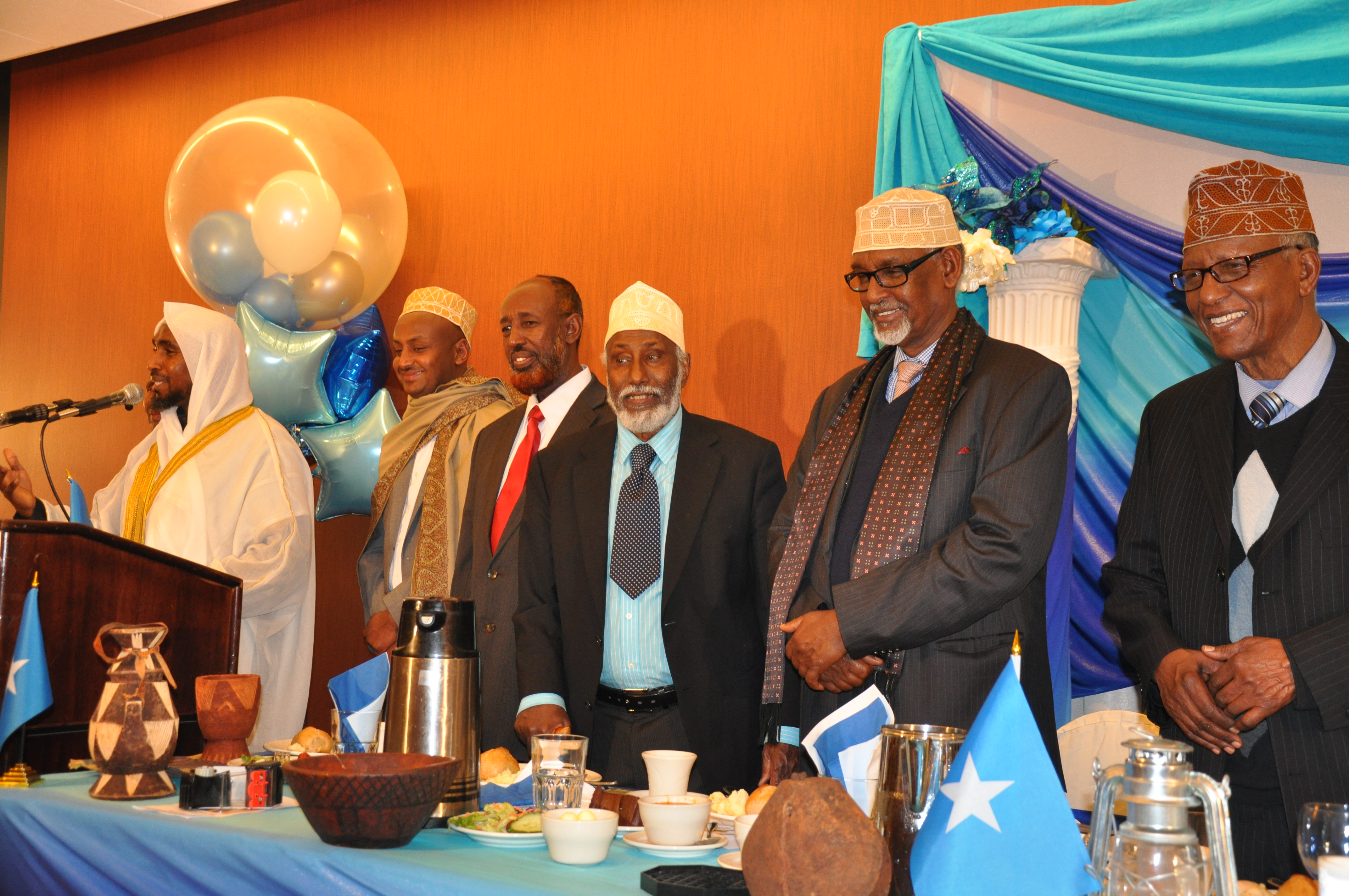 King Burhan Musa flanked by Somali elders at the Ramada in Minneapolis. Photo: Issa Mansray/The AfricaPaper