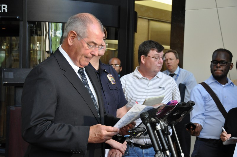 Hennepin County Attorney Mike Freeman responding to the press. Photo: The AfricaPaper/Issa Mansaray