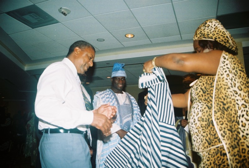 Juli Endee gowns Robert Johnson in Washington D.C .during Liberia's July 26, 2007, National Independence Day celebration. A year before Robert secured his Kendeja contract. Photo: James Fasuekoi/The AfricaPaper.