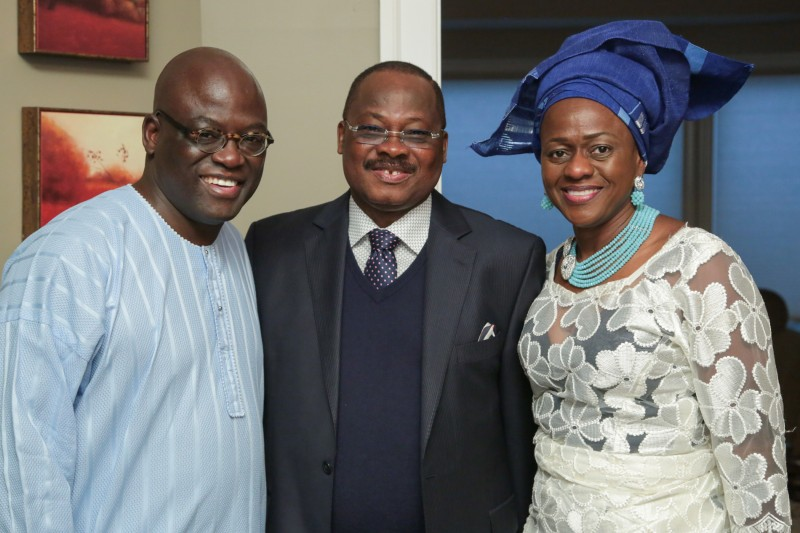 From left, Dr. Akande, Gov. Ajimobi, and Akande's wife, Bola Akande. Photo: Tu Square Studio.