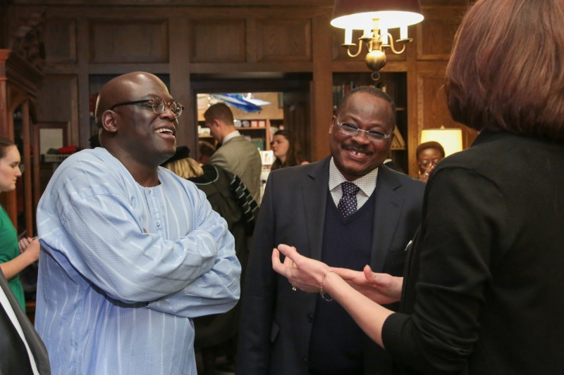 From left, Dr. Akande and Gov. Ajimobi enjoying a lighter moment with Jennifer Bondurant, of Westminster College following the installation ceremony. Photo submitted - TAP