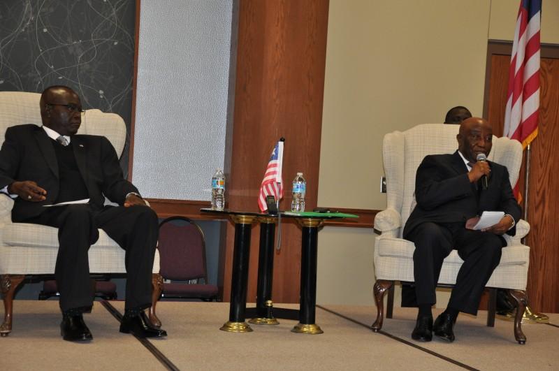 From left, Liberia's ambassador to the United States Hon. Jeremiah Solunteh, and VP Boakai. Photo: Issa A. Mansaray