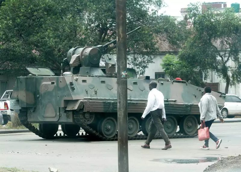 Military tanks in Harare, Zimbabwe. Photo: Henry K. Mhango/The AfricaPaper