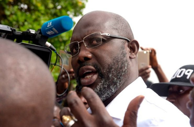 George Weah after casting his ballot in the second round of presidential elections in Monrovia, Liberia, on Tuesday. Credit Seyllou/Agence France-Presse — Getty Images