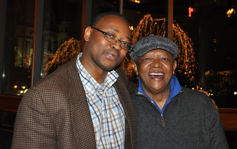 Hugh Masekela (R) and Issa Mansaray, The AfricaPaper's editor at Ordway, MN, USA. Photo: Alice Mansaray/The AfricaPaper