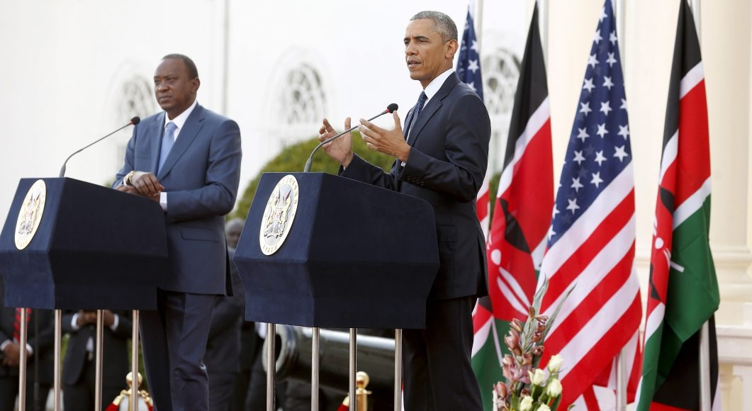 Then US President Barack Obama and Kenya President Uhuru Kenyatta address civil servants and public at Stahe House, Nairobi, Kenya. Photo: Henry Owino/The AfricaPaper