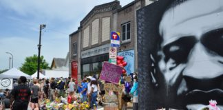 At the site were George Floyd was died while in police custody in front of Cup Foods on Chicago Avenue and 38th Street In Minneapolis. Photo: Issa Mansaray/The AfricaPaper